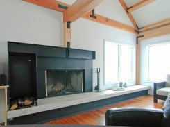 Living room fireplace and concrete hearth